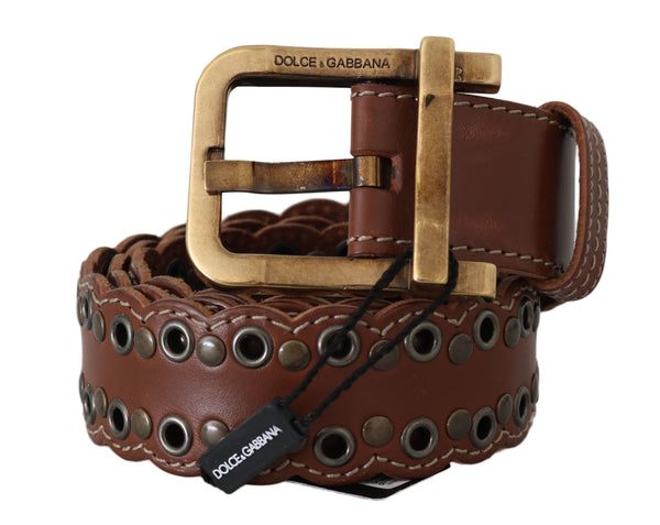 Brown Leather Studded Gold Buckle Belt