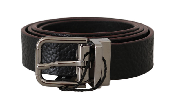 Belt Black Leather Patterned Silver Buckle