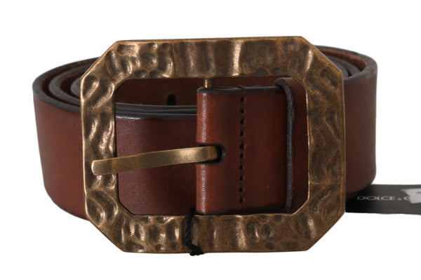 Brown Leather Brushed Gold Belt