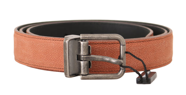 Orange Leather Logo Brushed Buckle Belt