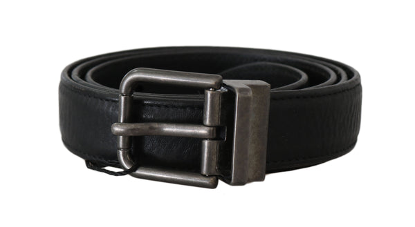 Black Leather Brushed Metal Buckle Belt