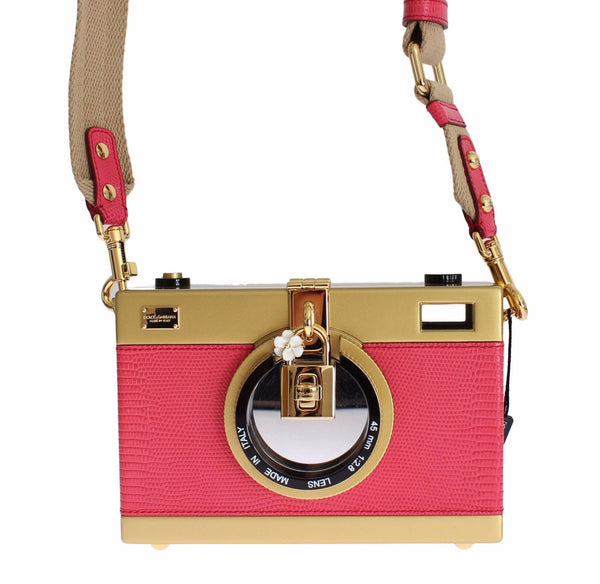 Camera Case Pink Leather Gold Shoulder Bag Clutch