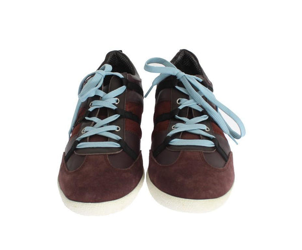Bordeaux Leather Casual Men's Designer Sneakers