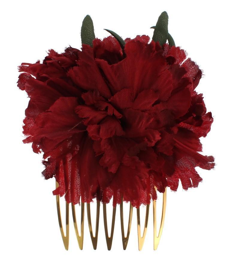 Red Silk Rose Garofani Gold Runway Hair Comb Stick