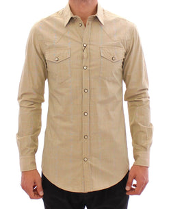 Beige Checkered SICILIA Fit Logo Casual Shirt