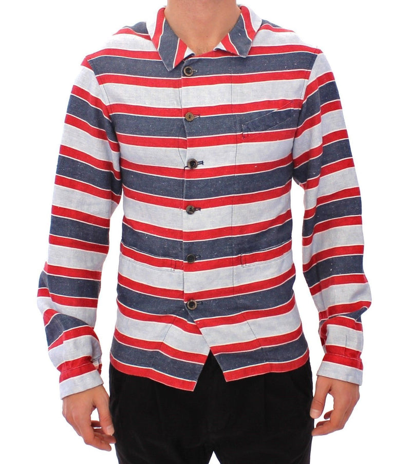 Blue Red Striped Runway Casual Linen Shirt