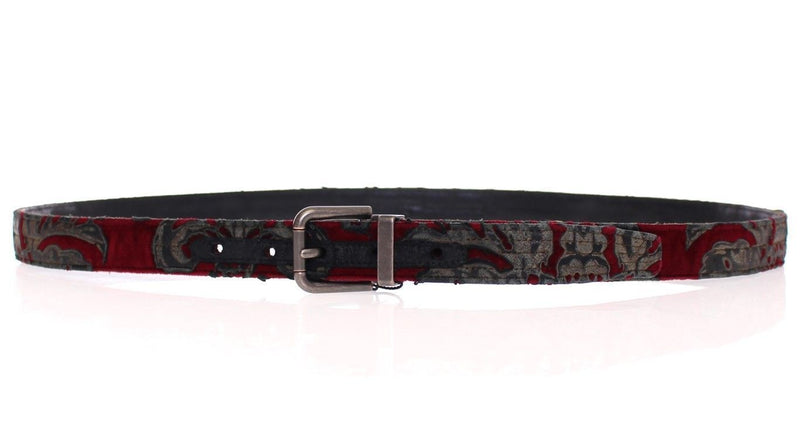 Red Velvet Baroque Leather Belt