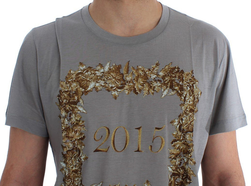 Crewneck 2015 Motive Print Gray Cotton T-shirt