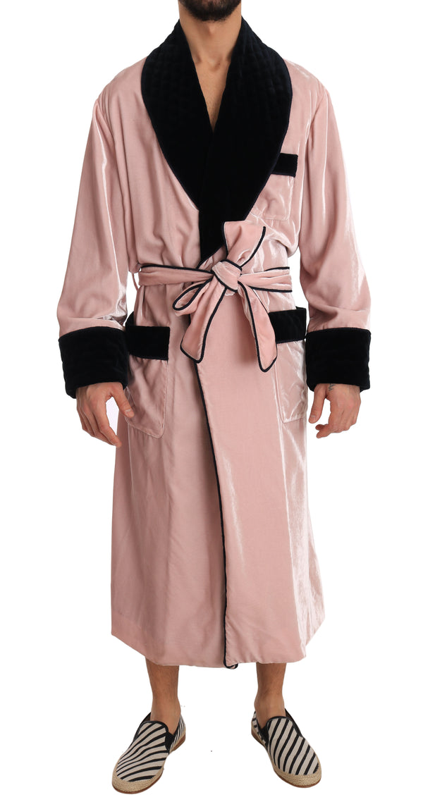 SILK Robe Nightgown Pink Velvet Black
