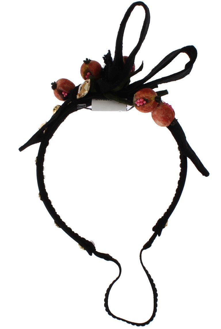 Black Silk Brocade Crystal Bow Fruit Headband
