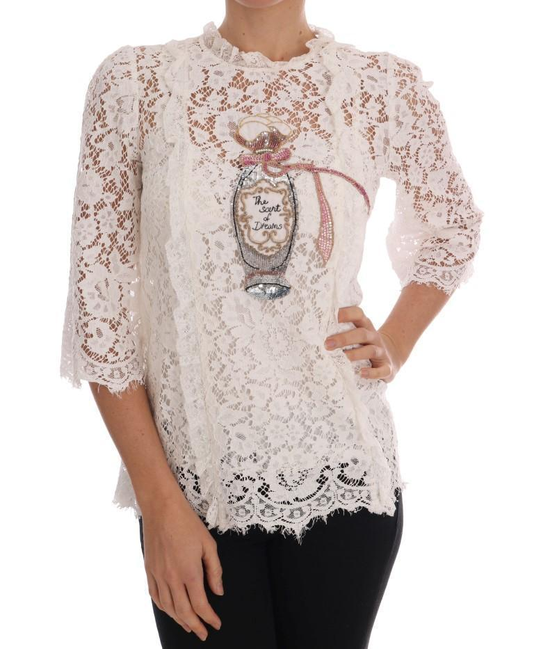 White Lace Fairy Tail Sequin Blouse
