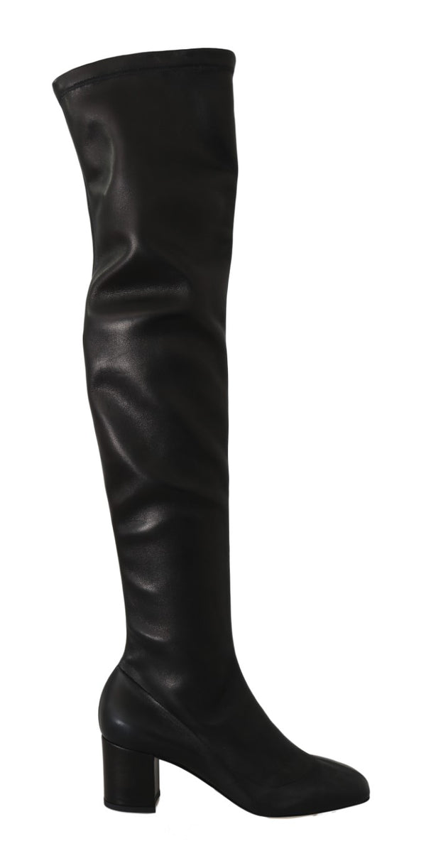 Black Stretch Leather Knee Boots