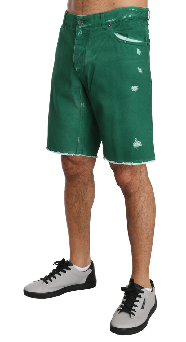 Green Denim Cotton Logo Above Knees Shorts