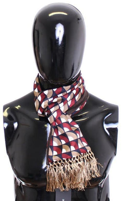 Scarf Men's Blue Red Beige Pattern Silk Cashmere