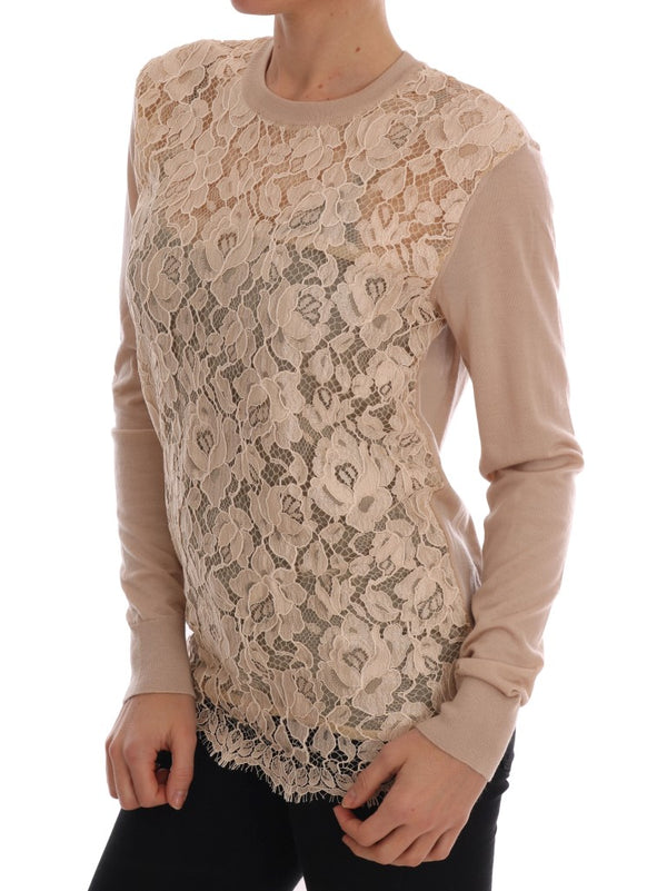 Beige Cashmere Lace Pullover Sweater