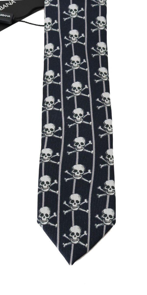 Blue Silk Skull Striped Print Tie
