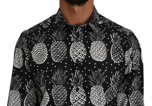 Black Cotton GOLD Pineapple Print