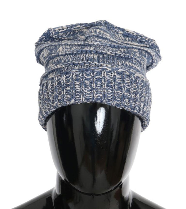 Blue White Wool Winter Beanie