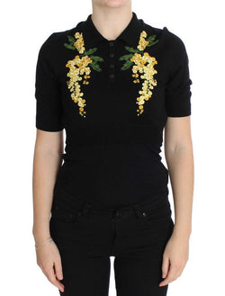 Black Silk Floral Embroidered Polo Top