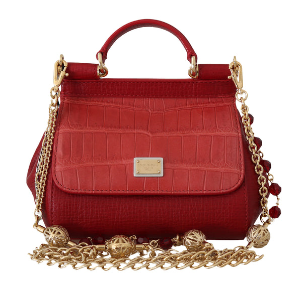 Red MISS SICILY Crocodile Leather Mini Shoulder HandBag