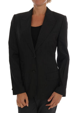 Black Striped Wool Blazer Jacket