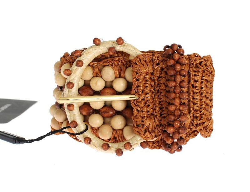 Brown Raffia Wood Beaded Wide Waist Belt