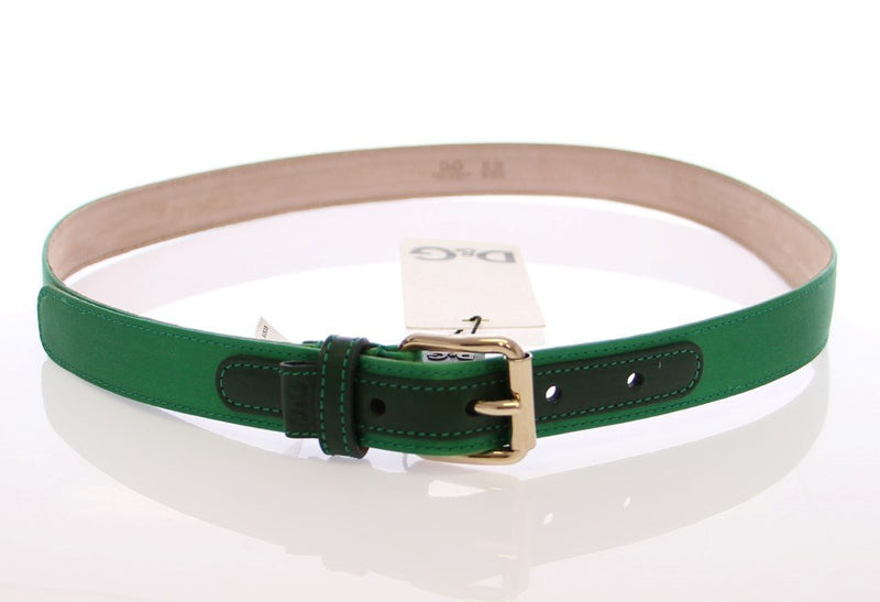 Green Leather Silk Logo Belt