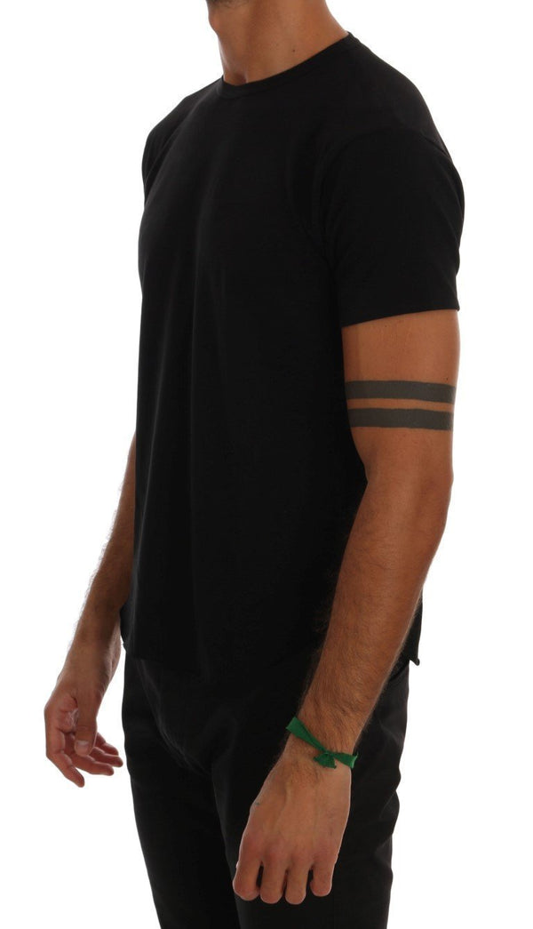 Black Cotton Stretch Crewneck T-Shirt