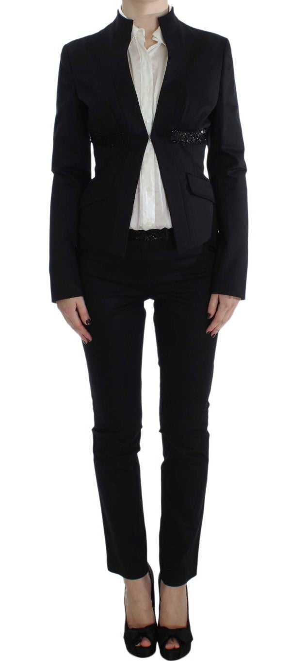 Black Stretch Cotton Suit