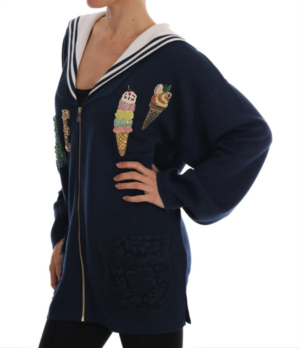 Blue Silk Crystal LOVE Ice Cream Sweater