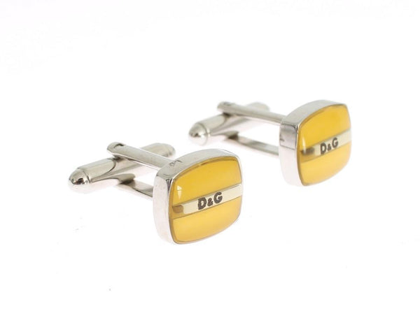 Yellow Silver Brass Branded Round Cufflinks