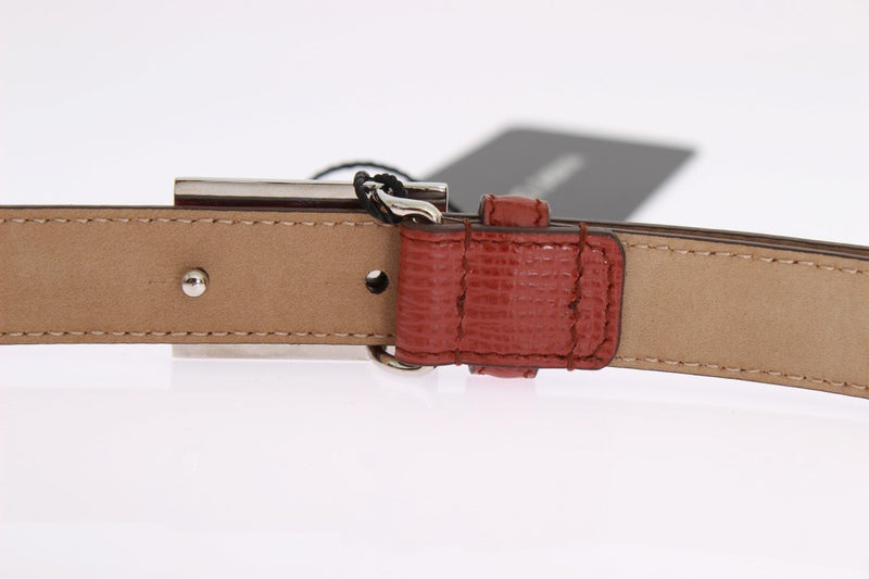 Orange Leather Gold Silver Buckle Belt