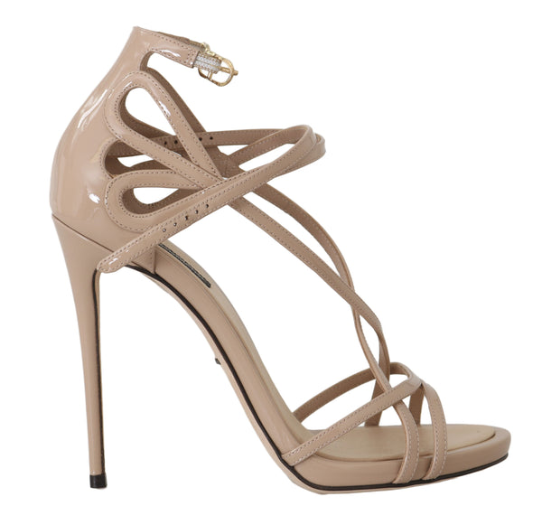 Beige Leather Silk Stiletto Sandals
