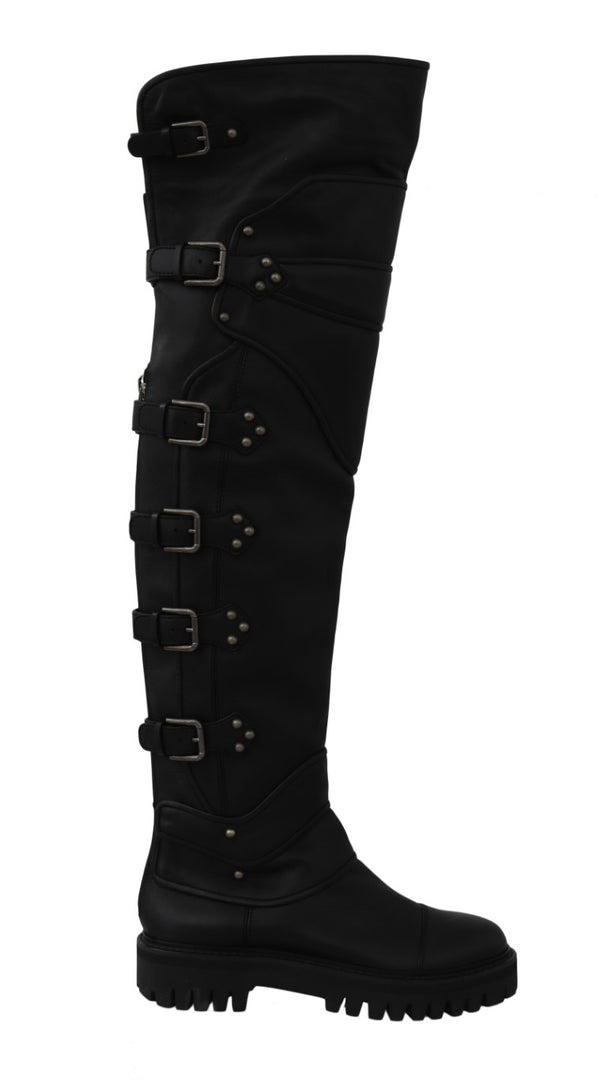 Black Leather Over Knee Biker Boots