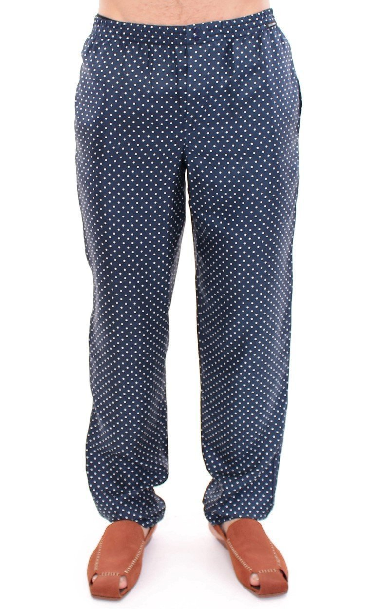 Blue Polka Dot SILK Pajama Pants Sleepwear