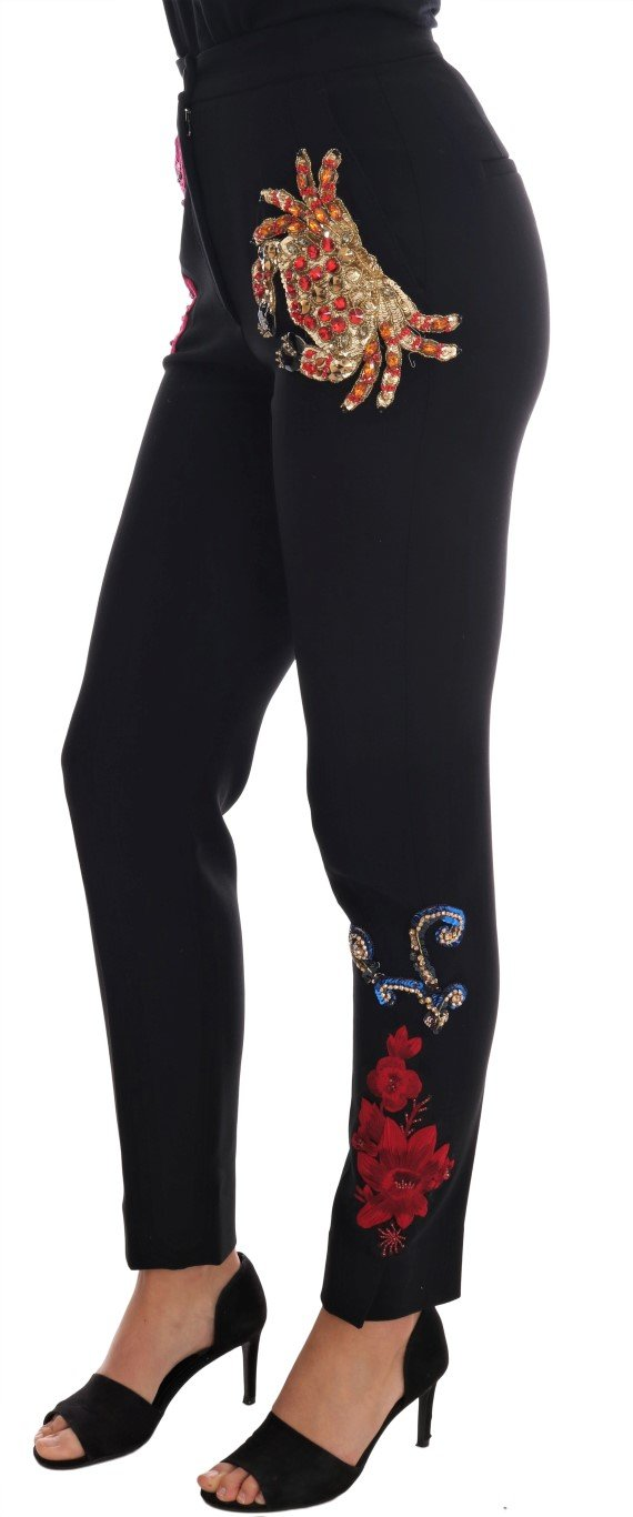 Black Wool Stretch Sicily Crystal Pants