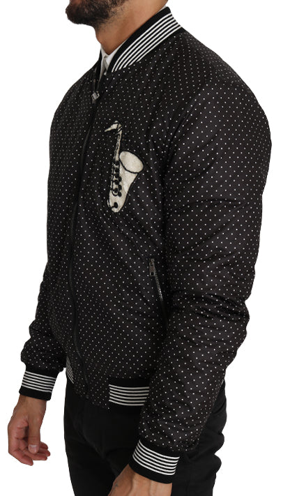 Black Polka Dot Sequin Beads Bomber Jacket