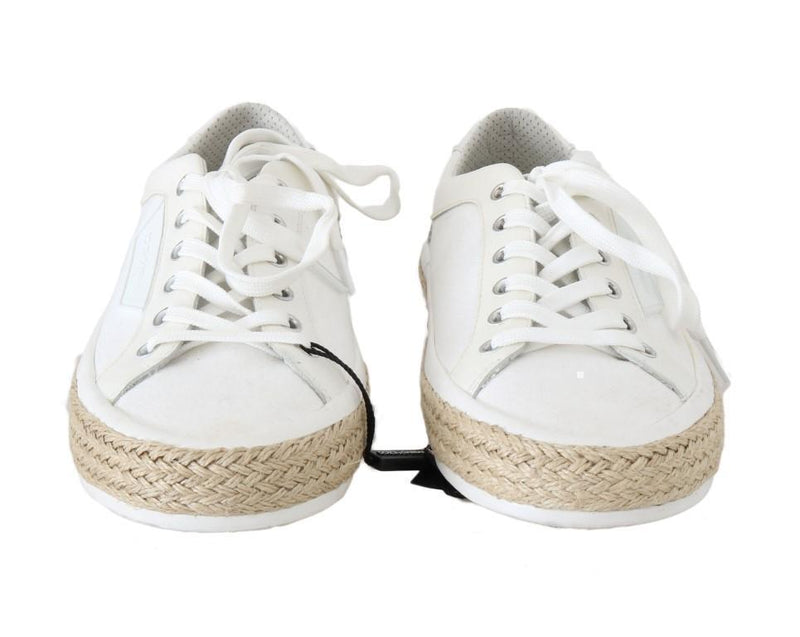 White Leather Cotton Sneakers