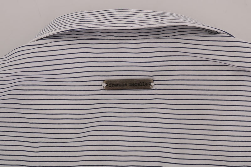 White Blue Striped Casual Cotton Regular Fit Shirt