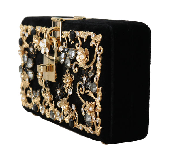 Black Velvet Gold Baroque Crystal Clutch Purse