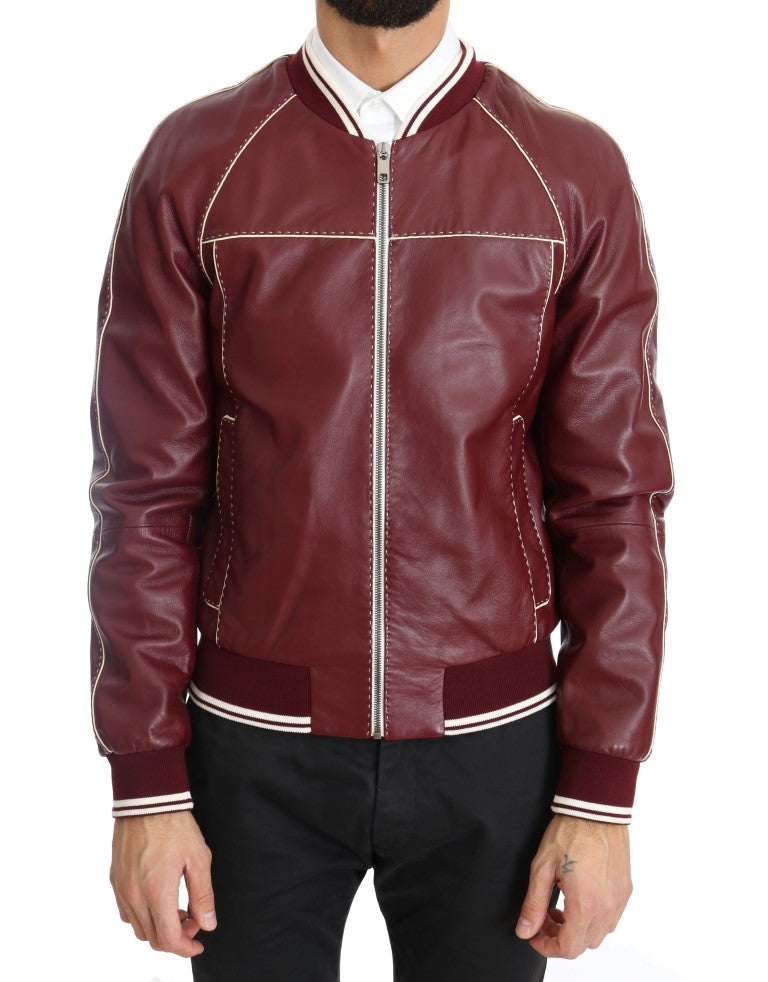 Bordeaux Lambskin Bomber Stitched Jacket