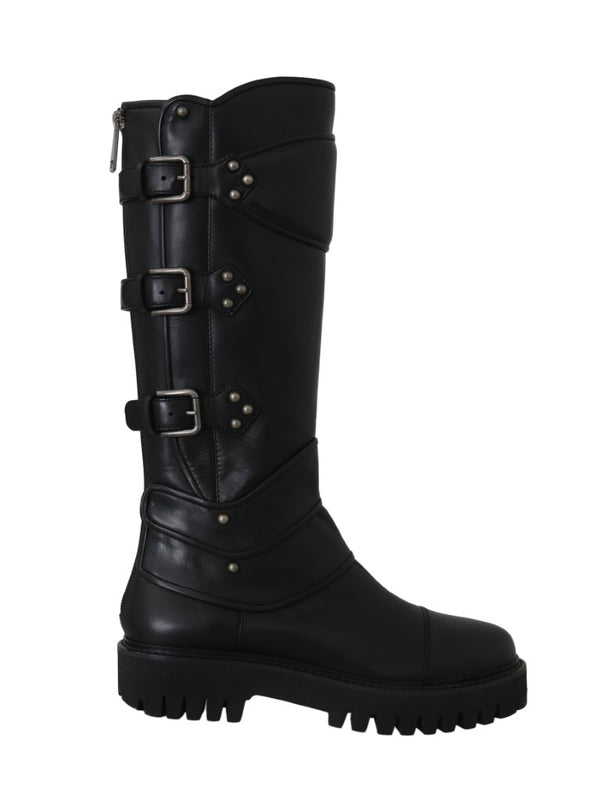 Black Leather Knee Biker Boots
