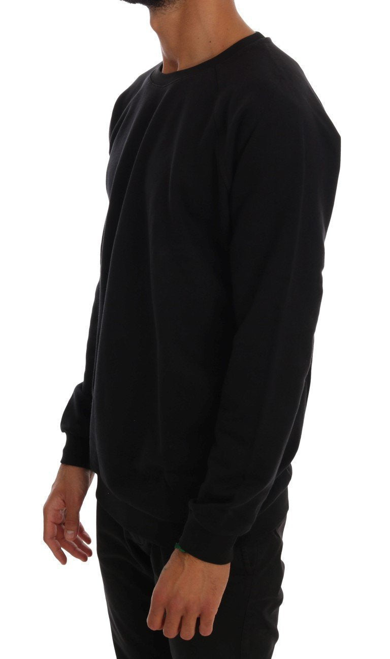 Black Crewneck Cotton Pullover Sweater