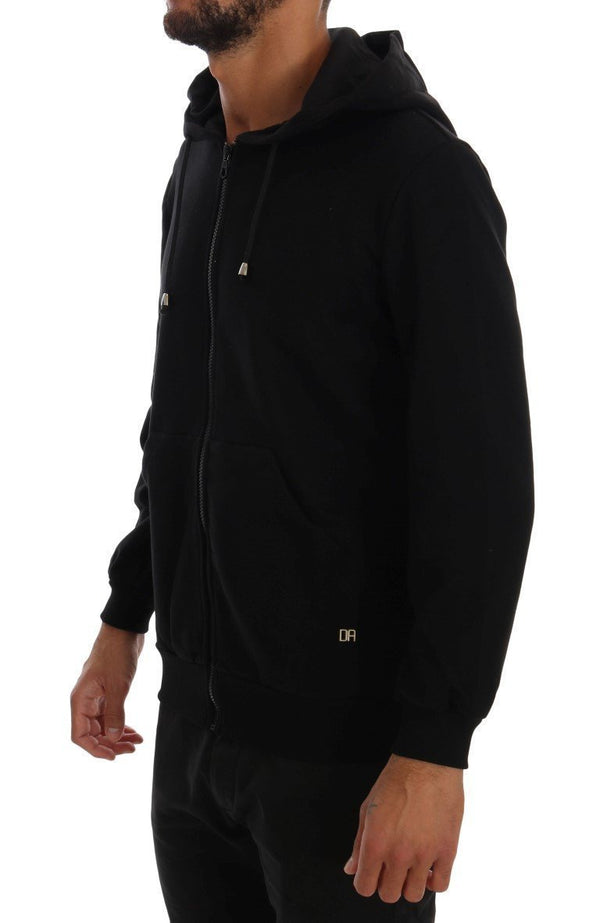 Black Sport Casual Hodded Cotton Sweater