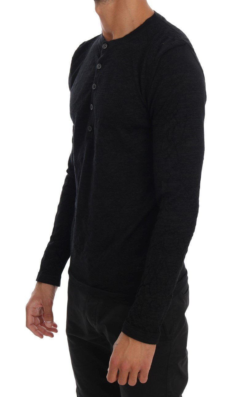 Black Cotton Blend Henley Sweater