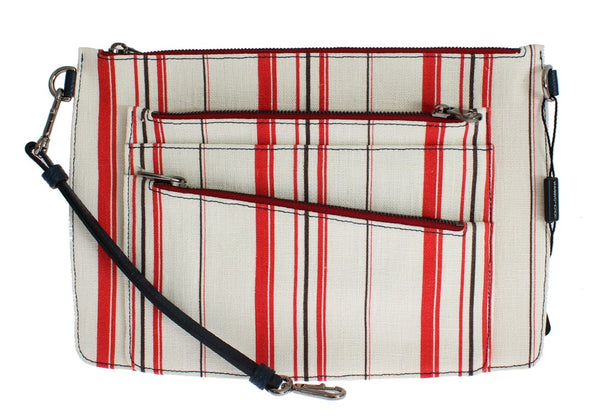 White Red Striped Linen Shoulder Messenger Bag - Designer Clothes, Handbags, Shoes + from Dolce & Gabbana, Prada, Cavalli, & more