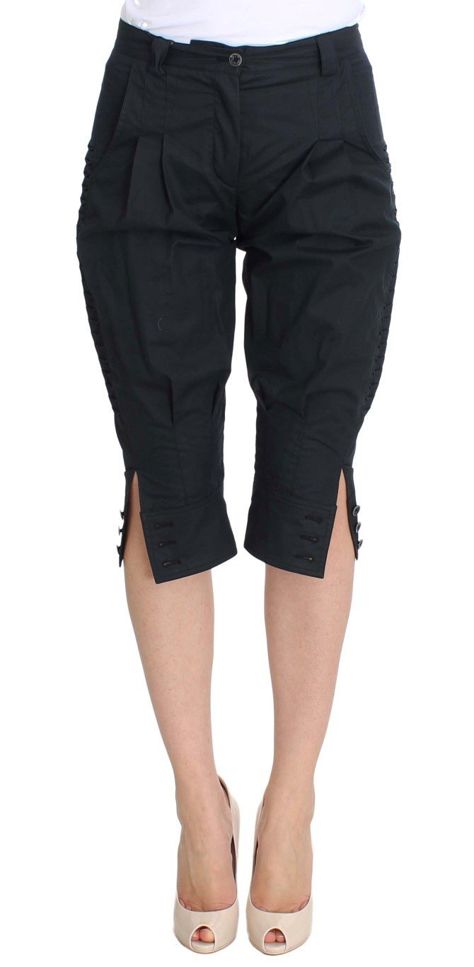 Blue Cotton 3/4 Length Pants