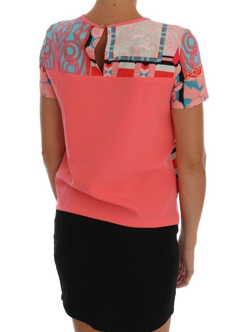 Pink Stretch Motive Blouse Top