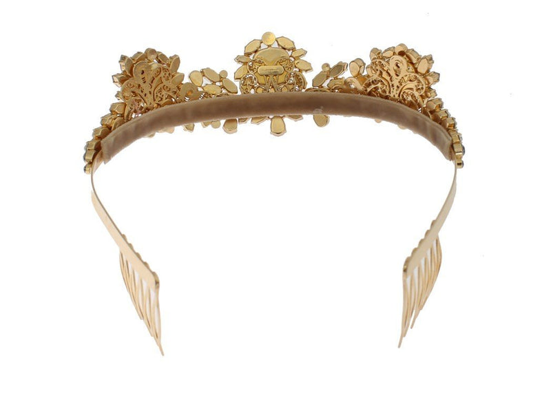 Gold Brass Crystal Sicily Diadem NATALE Crown