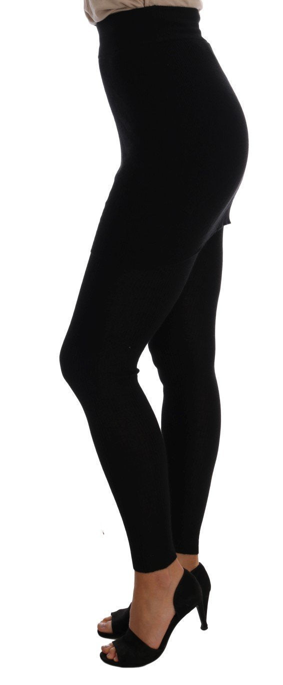 Black Cashmere Silk Stretch Tights Stockings